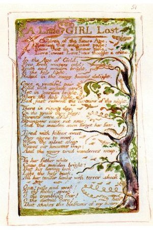 A Little Girl Lost - William Blake's original plate for A Little Girl Lost.