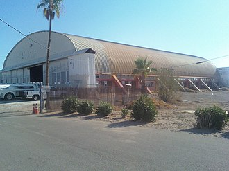 Blythe Airport - Photo of the main hangar at Blythe Airport taken in August 2009.