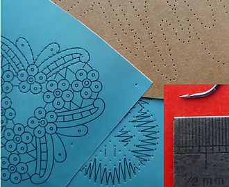 Bobbin lace - prickings for various types of lace and a very fine hook