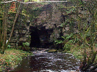 Boho Caves - Quarry entrance in flood; resurgence is further downstream in drier conditions