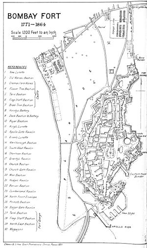 Fort George, Bombay - Plan of Bombay fort