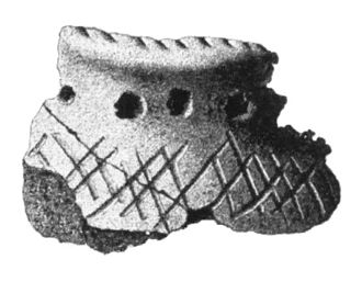 Pitted Ware culture - A pottery shard showing the characteristic pits, from Uppland, Sweden