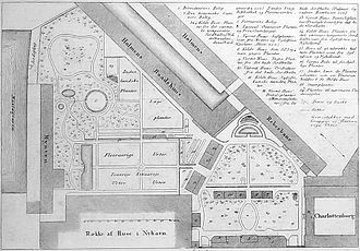 University of Copenhagen Botanical Garden - Plan of the former garden behind Charlottenborg Palace (1847)