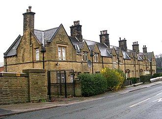 Model village - Almshouses at Ripley Ville, Yorkshire. Built 1881 and now the only remaining example of the architecture of the  village