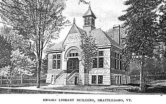Brooks Memorial Library - An illustration of the original Brooks Free Library building
