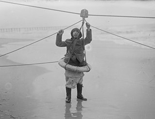 A crude rescue device for transport along a taut rope