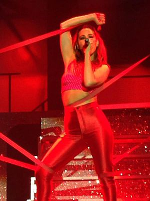 "Rachel Stevens - Stevens performing ""Sweet Dreams My LA Ex"" in 2015."