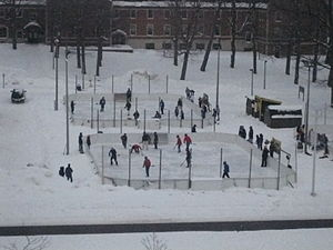 Michigan Technological University - Students playing broomball