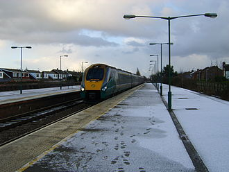 Brough, East Riding of Yorkshire - Hull Trains Class 222 Pioneer train arriving at Brough railway station