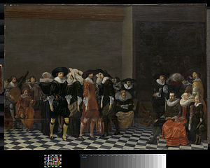 A wedding feast, traditionally called 'The wedding of Adriaen Ploos van Amstel and Agnes van Bijler', 1616