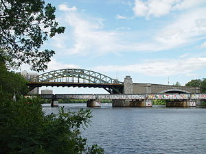 Boston University Bridge - The Boston University bridge and Grand Junction Railroad bridge, seen from the Boston side looking upstream.