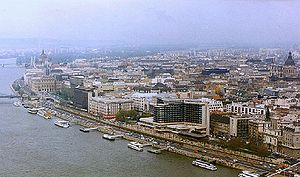 Pest, Hungary - View of the riverfront of Pest.