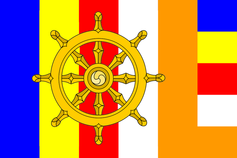 File:Buddhist flag with Dharma wheel.png
