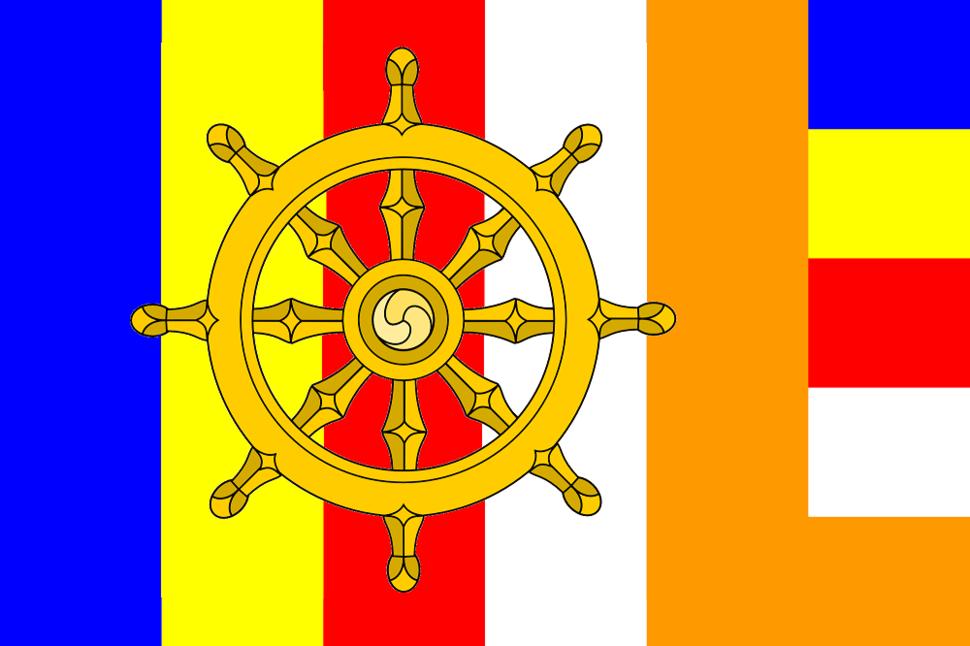 Buddhist flag with Dharma wheel