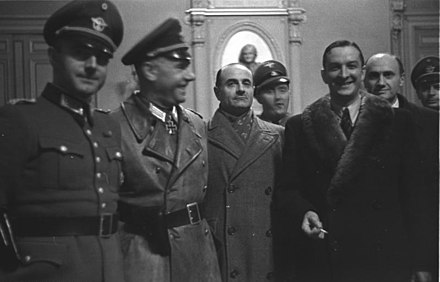 23 January 1943: German-Vichy French meeting in Marseilles. SS-Sturmbannfuhrer Bernhard Griese, Marcel Lemoine (regional prefet), Rolf Muhler [de