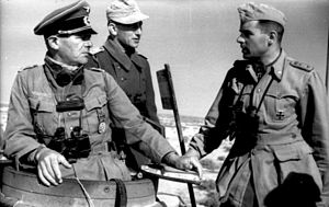 Afrika Korps - Three German officers confer together atop a tank in North Africa.