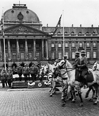 German occupation of Belgium during World War II - German cavalry parade past the Royal Palace in Brussels shortly after the invasion, May 1940.