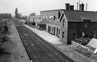 Burwell, Cambridgeshire - Burwell Station in 1963. Closed to passengers in 1962, goods in 1965.