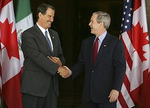 Fox administration - Vicente Fox with George W. Bush