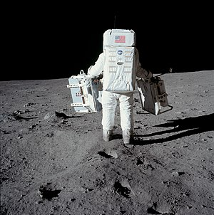 Apollo Lunar Surface Experiments Package - On Apollo 11, Buzz Aldrin simply carried the EASEP to the deployment site by using handles. This is different from the carrybar used on later missions.
