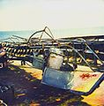 By seawash damaged front gangway of the tanker Oshima Spirit after a typhoon in the China Sea in November 1993.jpg
