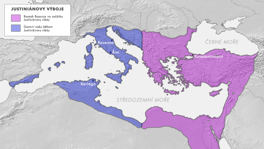 Bizanca imperio dum sia plej granda teritoria kresko dum imperiestro Justiniano la 1-a (ĉirkaŭ jaro 550)