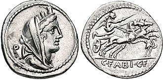 Fabia (gens) - Denarius of Gaius Fabius Hadrianus, 102 BC. On the obverse is the head of Cybele, a possible allusion to the visit to Rome of Battaces, a priest of Magna Mater.  The reverse depicts Victoria driving a biga, with a flamingo below.