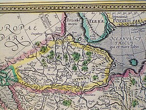 Pustozersk - Pustozera on the Petzora River, just north of the Arctic Circle, on a Mercator's map published in 1595