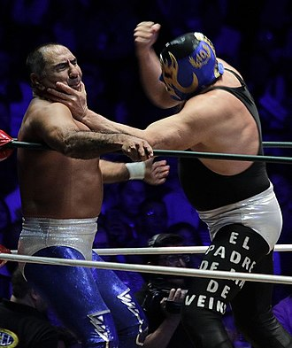 Blue Panther - Blue Panther (left) fighting Máscara Año 2000 in November 2018