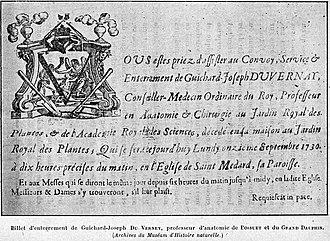 Guichard Joseph Duverney - Funeral card of Guichard-Joseph Du Verney