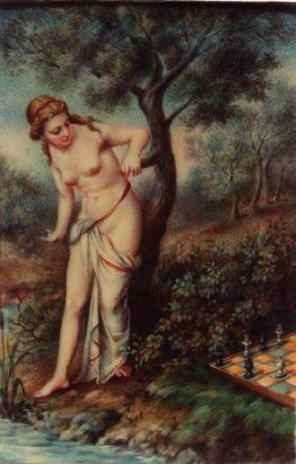 Caïssa - An early illustration of Jones's Caïssa (Fratta, c. 1800)