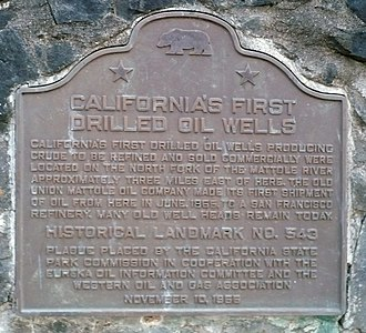 California Historical Landmarks in Humboldt County - Image: California Historical Landmark 543 Petrolia First Oil Wells