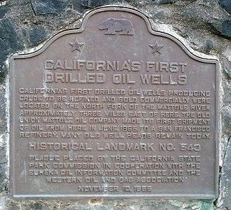 Petrolia, California - Image: California Historical Landmark 543 Petrolia First Oil Wells