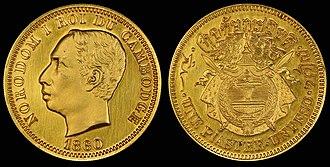 Norodom of Cambodia - Image: Cambodia 1860 1 Piastre