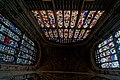Cambridge - King's College Chapel 1446-1544 - Antechapel - View Up & West on Fan Vaults, Stained Glass & Tudor Roses.jpg