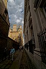 Cambridge - Senate House Passage - View ENE along Senate House on Gonville & Caius College 1876 Alfred Waterhouse - Stephen Hawking was a fellow of this College.jpg