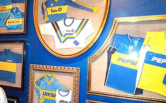 "Boca Juniors - Some jerseys exhibited at ""The Passion for Boca Juniors Museum""."