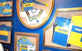 "Boca Juniors - Some jerseys exhibited at ""The Passion for Boca Juniors Museum""."