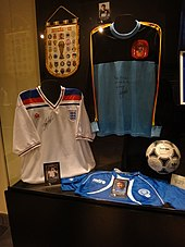 7d14ce4241e The Admiral-designed England shirt (left) introduced in 1980