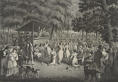 A drawing of a Protestant camp meeting, 1829. Camp meeting.jpg