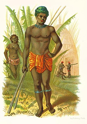 Kanak people - Antique lithograph of Kanaks.