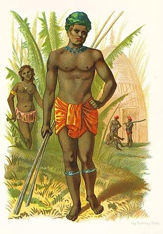 Kanak people - Antique lithograph of Kanaks.