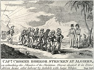 Slavery in the Ottoman Empire - 1815 illustration of a British Captain horrified by seeing Christians worked as slaves in Algiers.