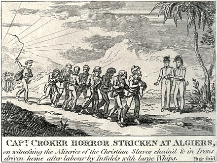 British captain witnessing the miseries of slaves in Ottoman Algeria, 1815 Captain walter croker horror stricken at algiers 1815.jpg