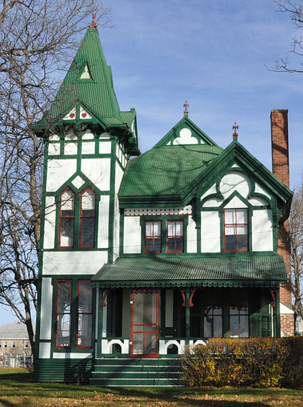 An example of a 19th-century Carpenter Gothic Revival style cottage on Thousand Island Park. Carpenter Gothic Revival Cottage.JPG