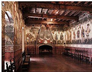 Castello della Manta - I Nove Prodi, the Nine Worthies. Fresco by the Maestro del Castello della Manta,  c.1420. The series continues to the right with depictions of their female counterparts