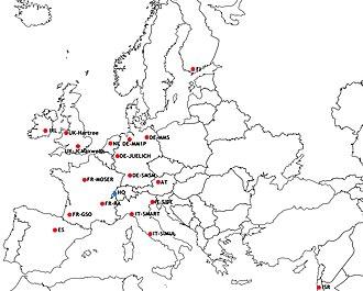 Centre Européen de Calcul Atomique et Moléculaire - Location of CECAM Nodes (red) and HQ (blue)