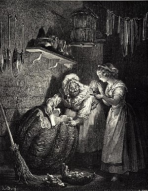 Fairy godmother - Illustration to Cinderella by Gustave Doré:  the fairy godmother preparing an enchantment for her goddaughter.