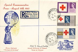First day of issue - 1963 Centenary of the Red Cross cover with West Wellow postmark - where Florence Nightingale was buried
