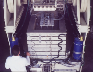 Geotechnical centrifuge modeling - Model of a port structure loaded on the UC Davis centrifuge